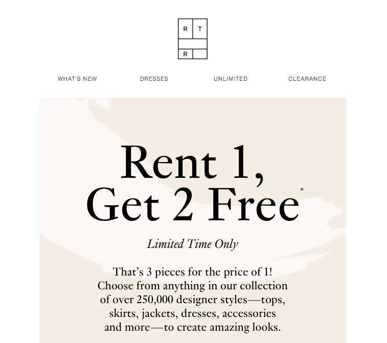 Rent the Runway email headers