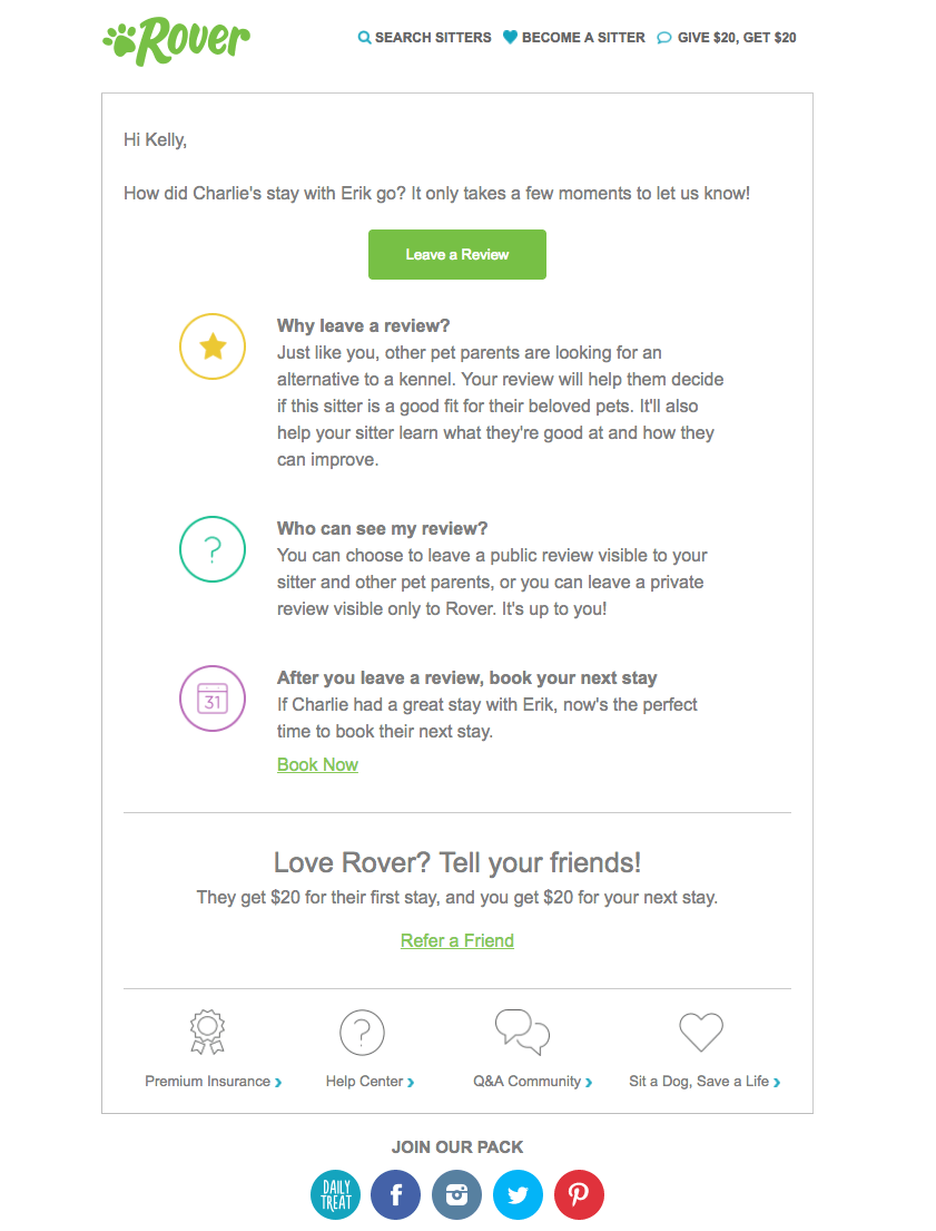Rover event follow-up emails