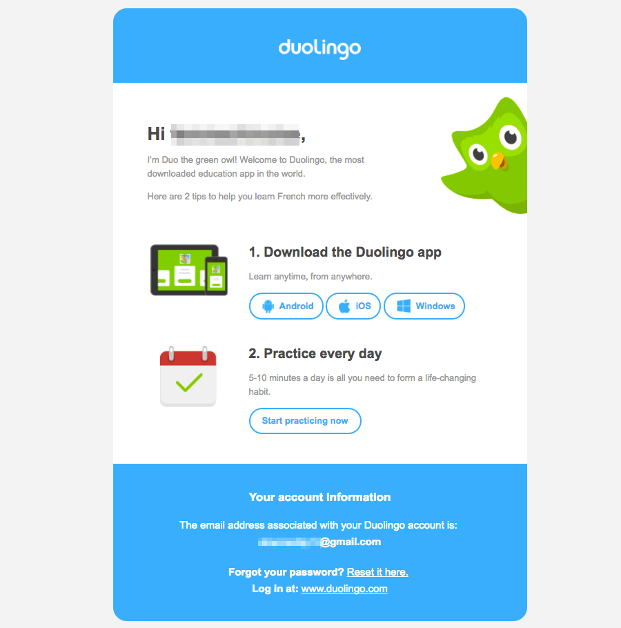 Duolingo Getting started emails