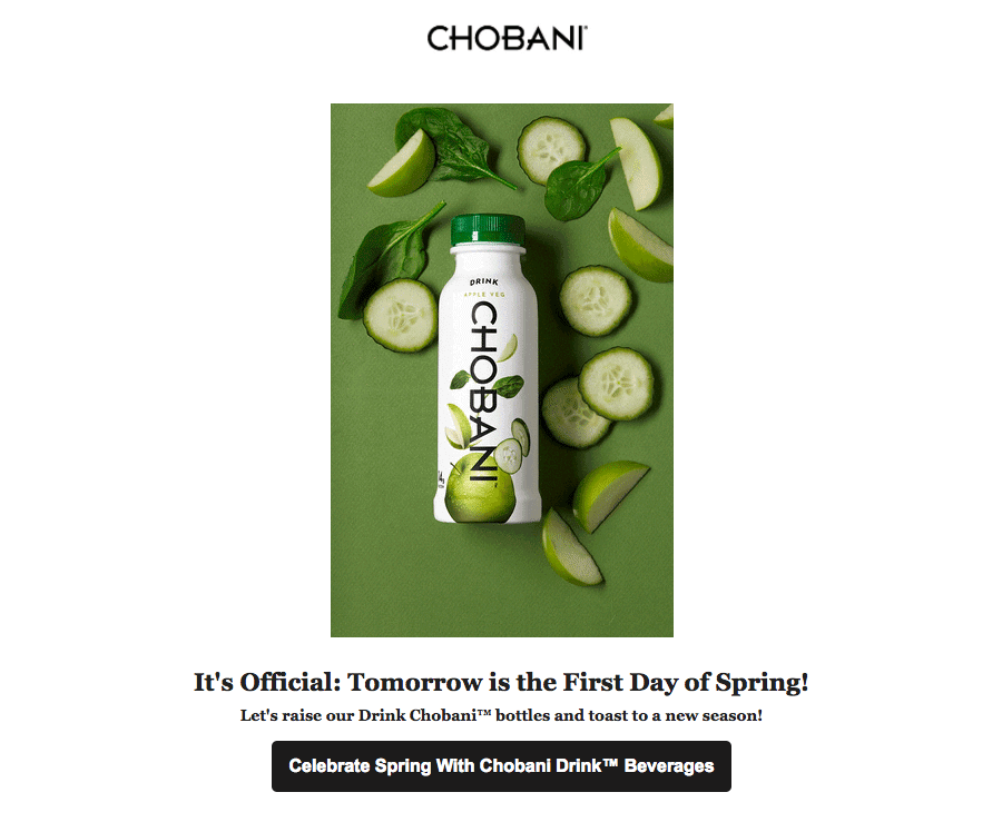Chobani food industry email design