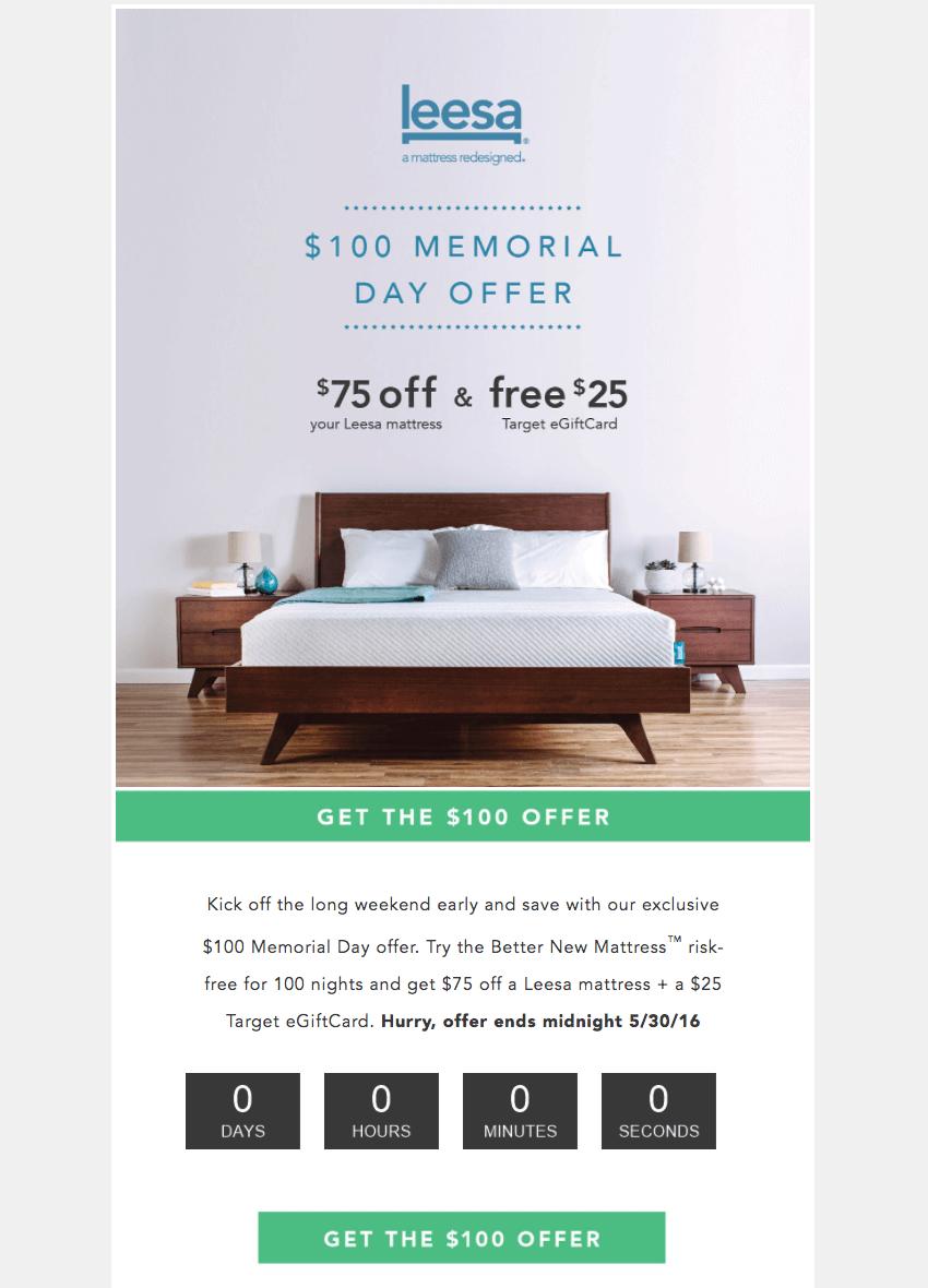 Leesa memorial day email design