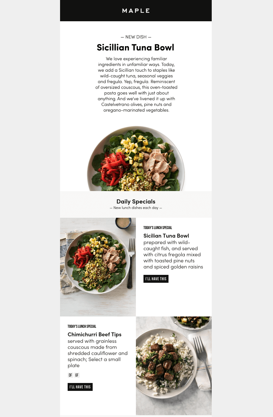 Maple Kitchen food industry email design