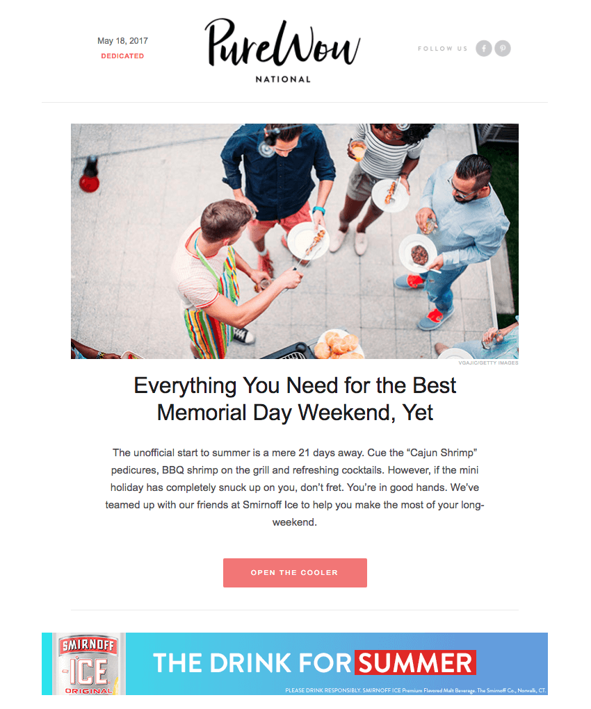 Pure Wow memorial day email design
