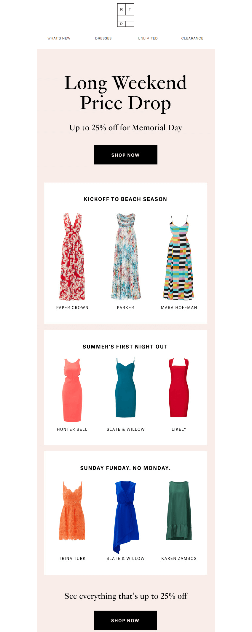 Rent the Runway memorial day email design