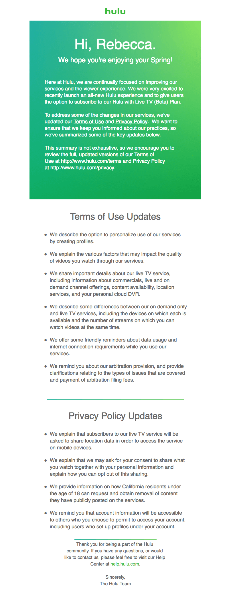 Hulu Terms of Service and Privacy Policy Emails