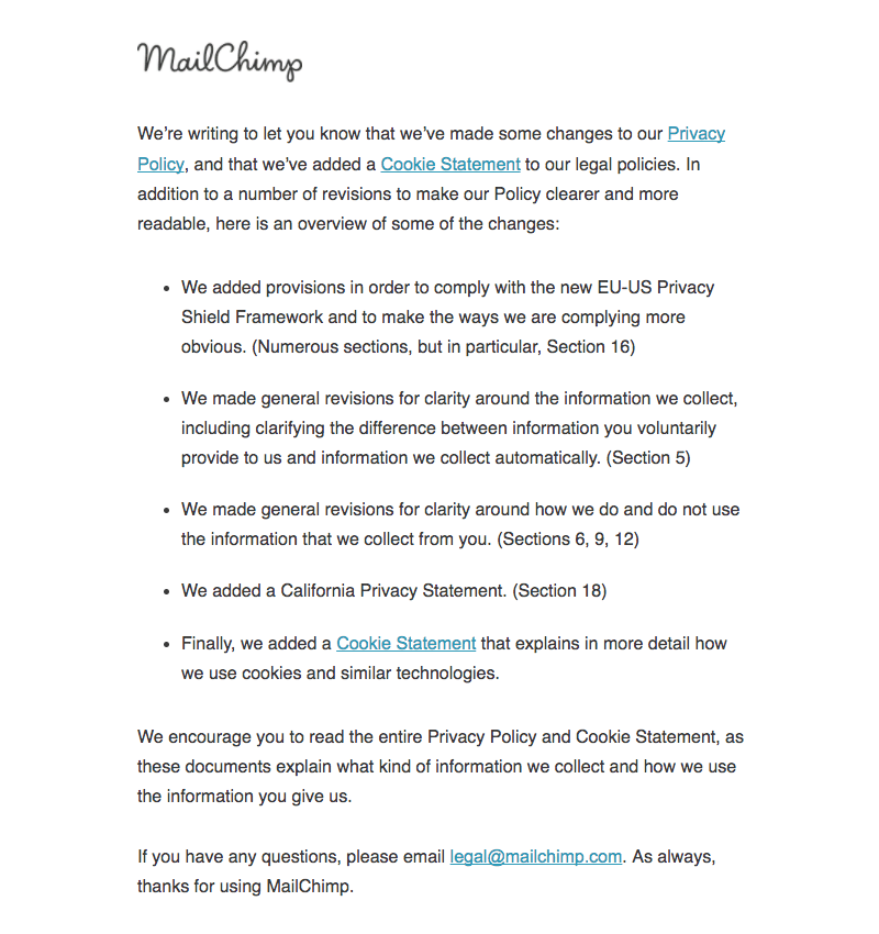 MailChimp Terms of Service and Privacy Policy Emails