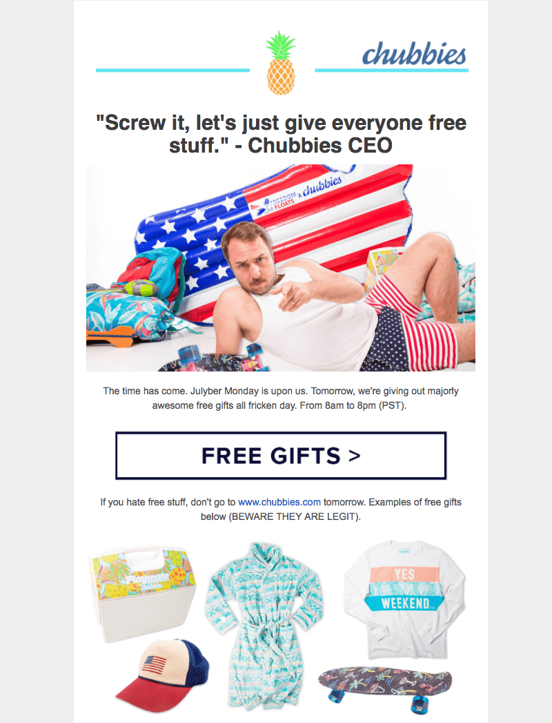 Chubbies summer emails