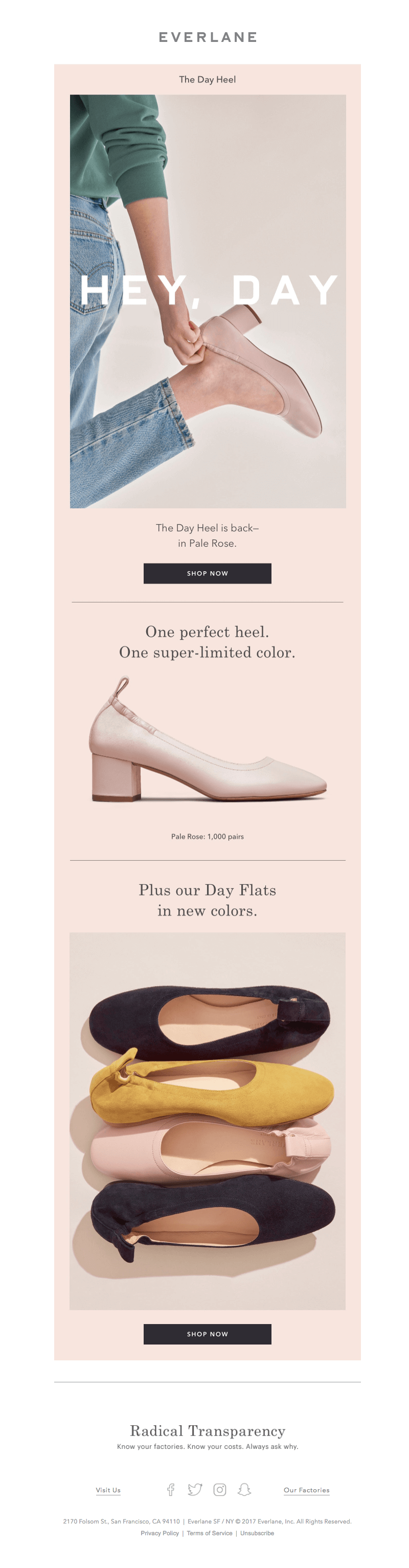 Millennial pink email from Everlane