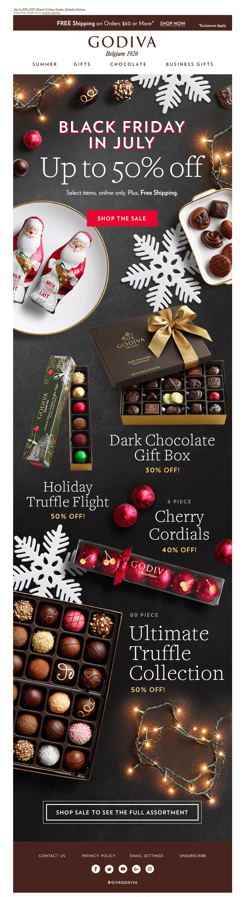 Godiva Christmas in July