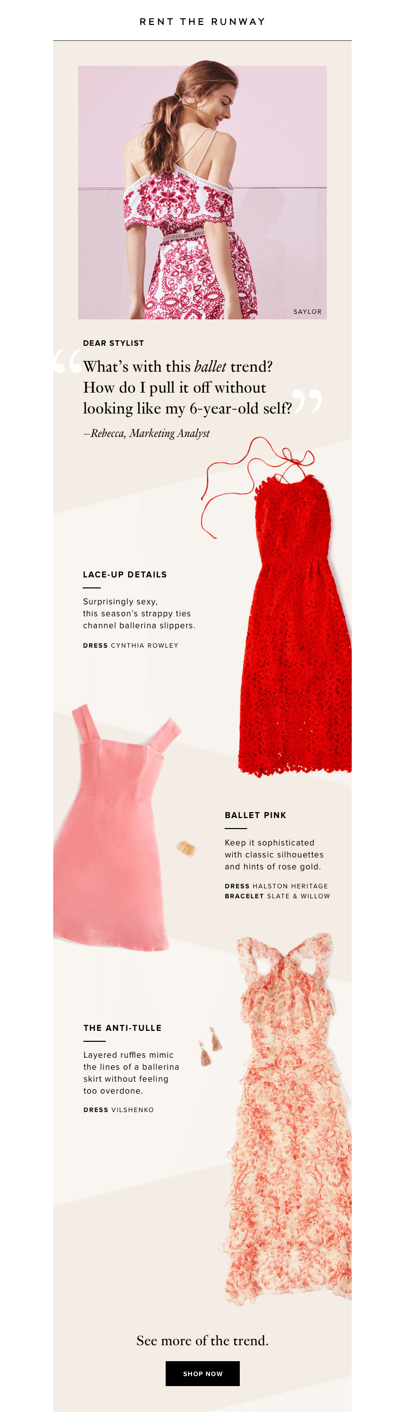 Millennial pink email from Rent the Runway