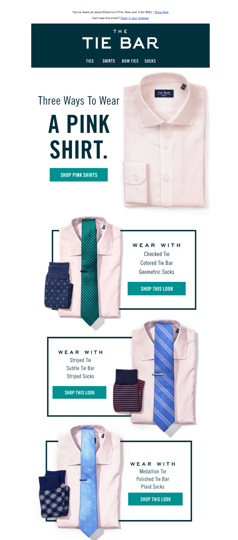 Millennial pink email from the Tie Bar