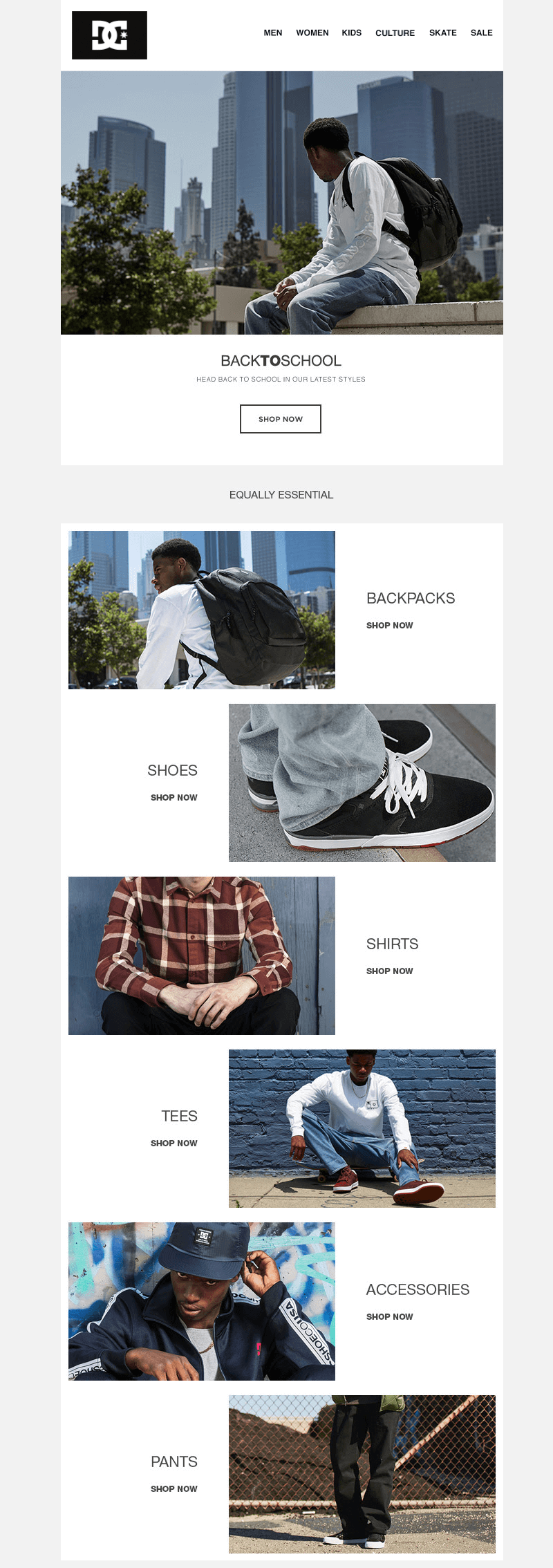 DC shoes back-to-school-email-designs