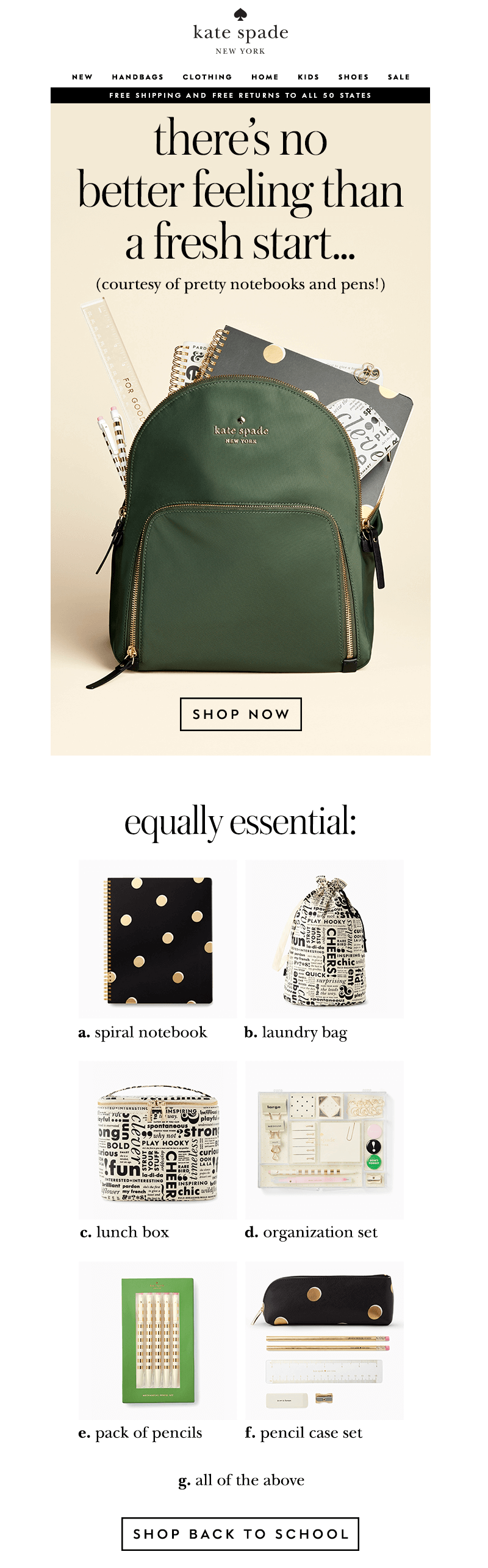 kate spade back-to-school-email-designs