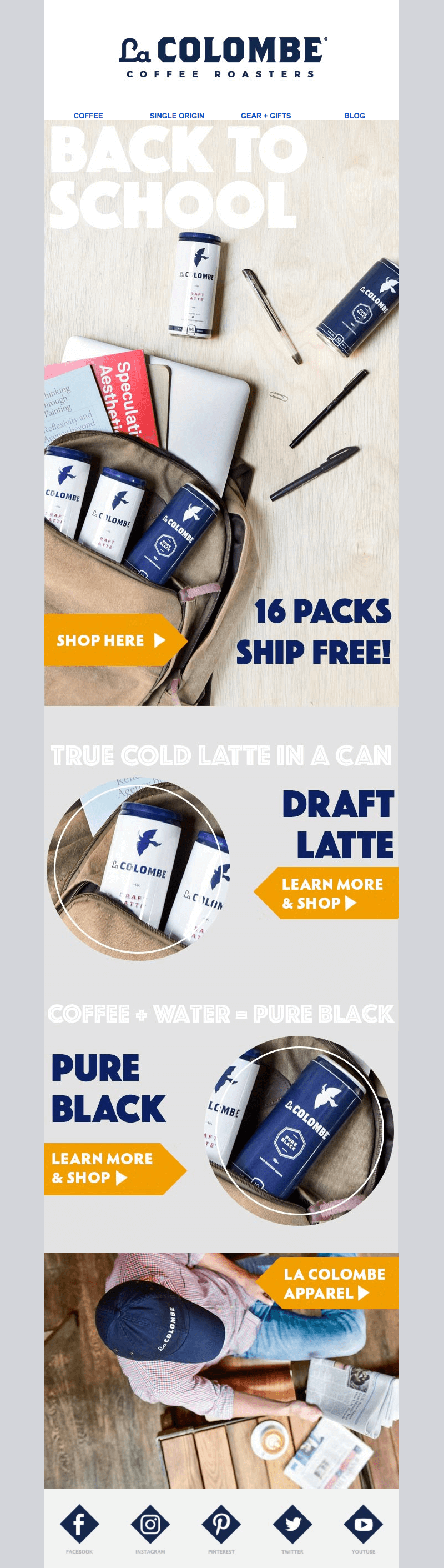 la colombe back-to-school-email-designs