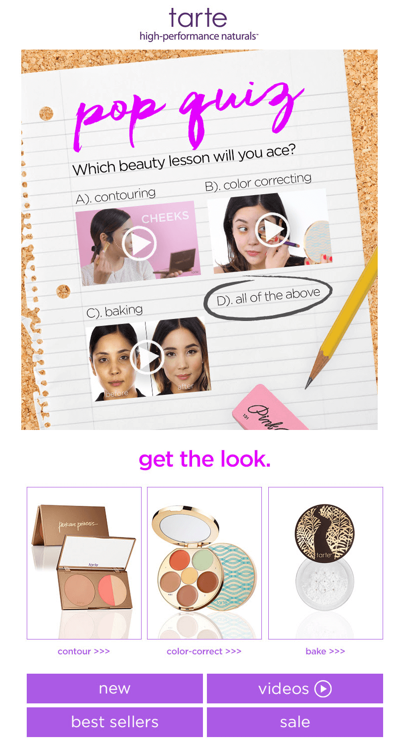 tarte back-to-school-email-designs