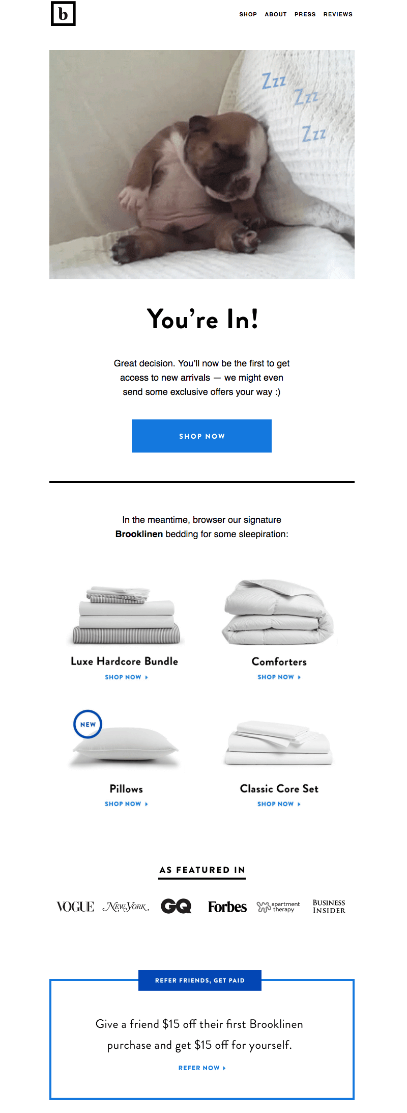 brooklinen welcome email design tips