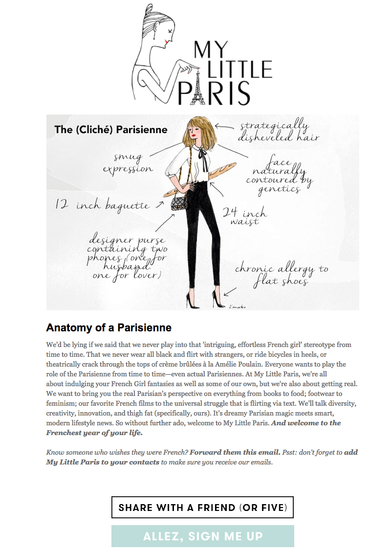 my little paris welcome email design tips