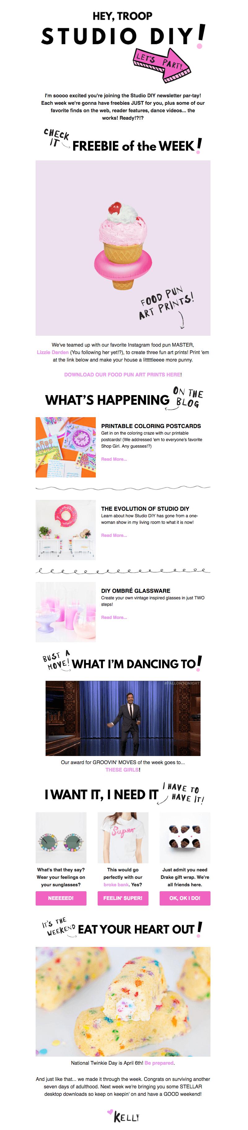 studio diy welcome email design tips