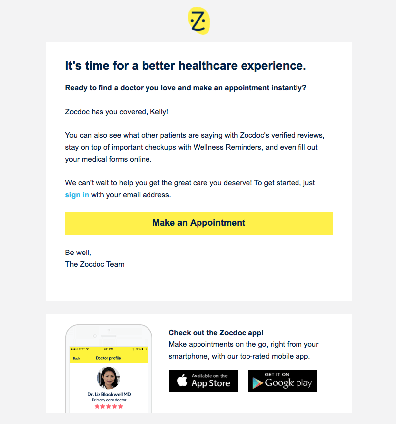zocdoc welcome email design tips