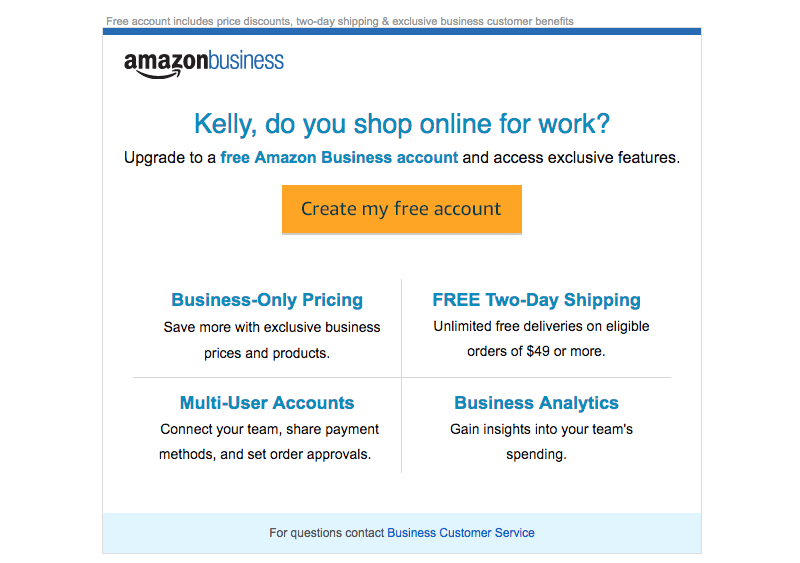 Amazon Business upgrade emails