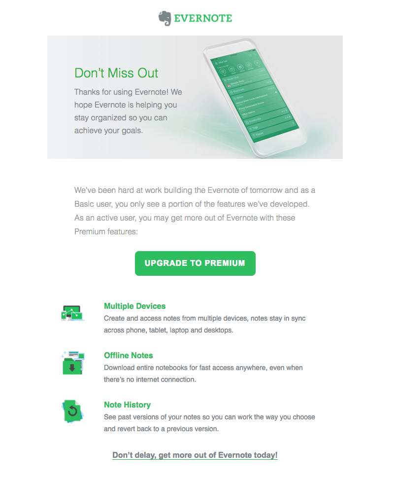 Evernote upgrade emails