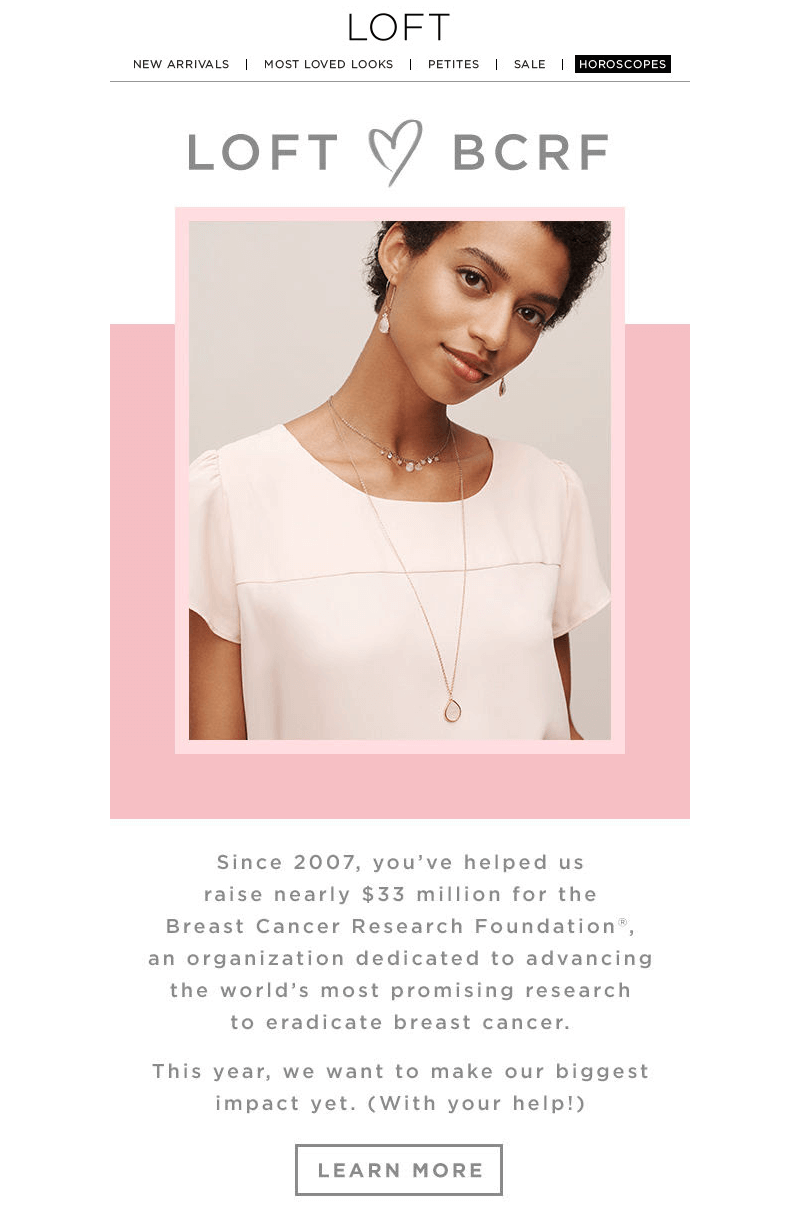 LOFT Breast Cancer Month emails