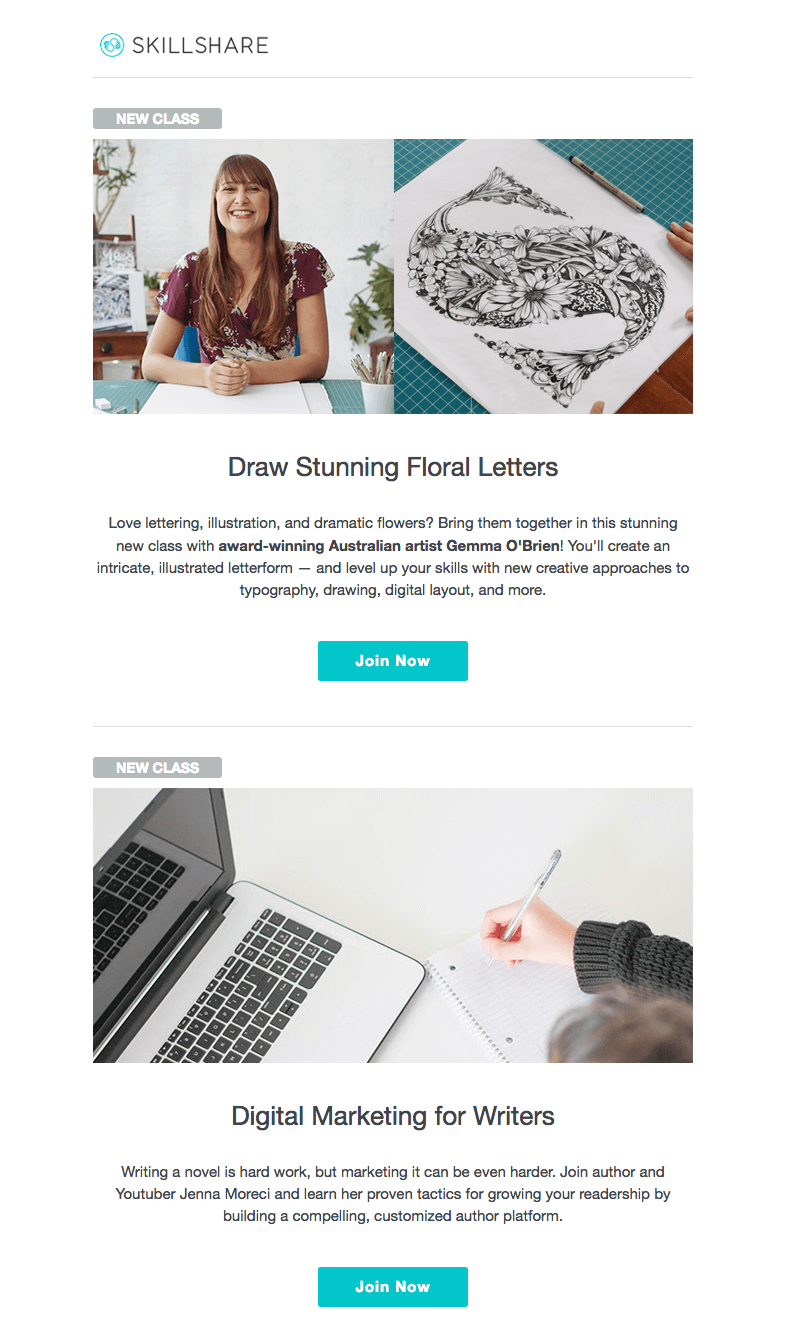 skillshare online education emails
