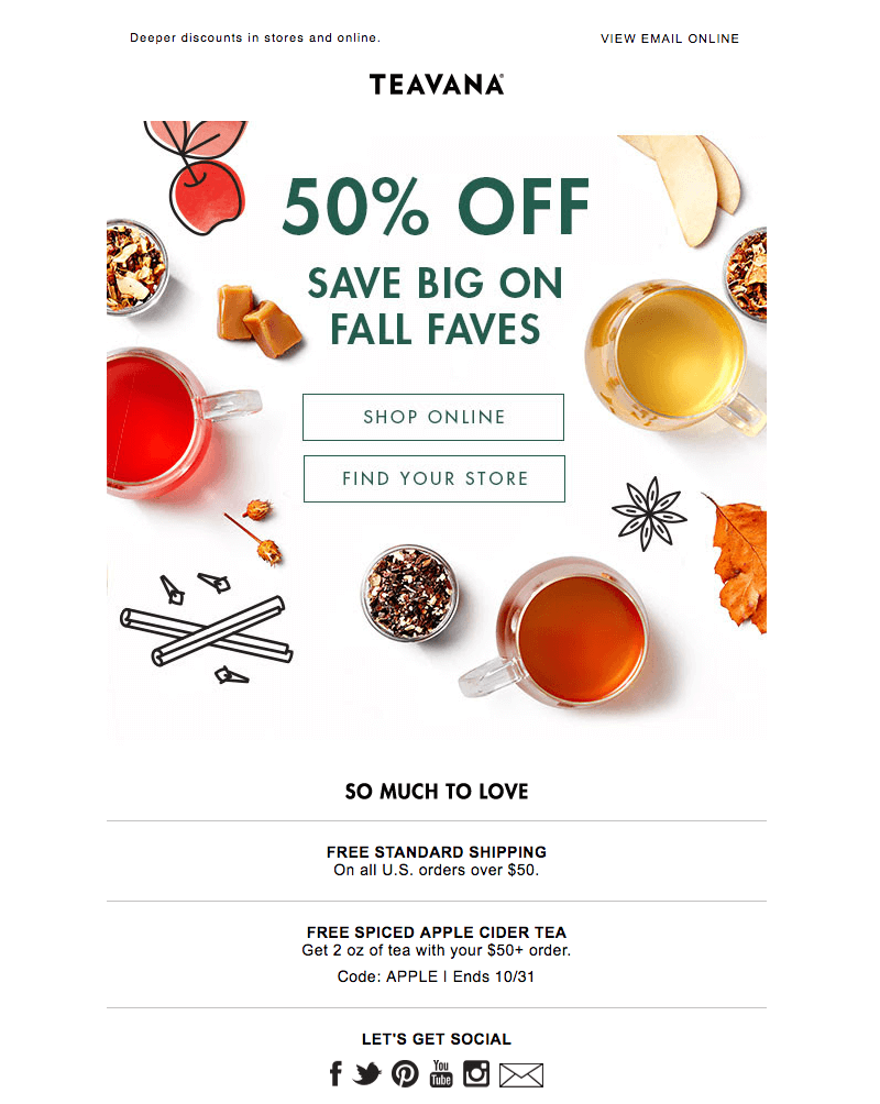teavana autumn emails