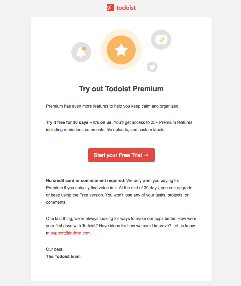 Todoist upgrade emails