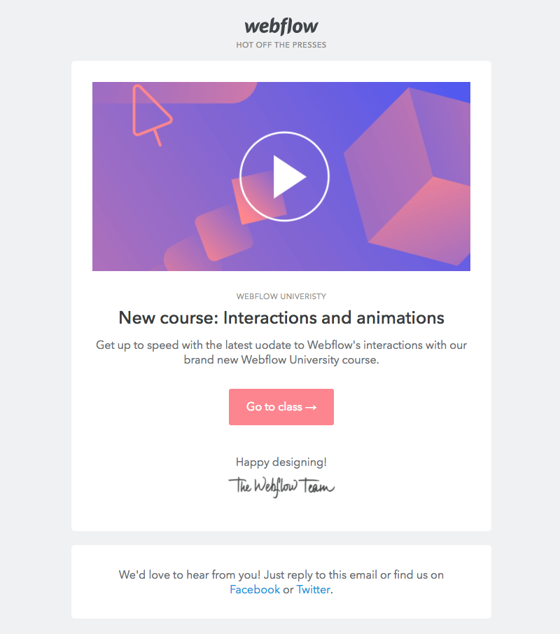webflow online education emails