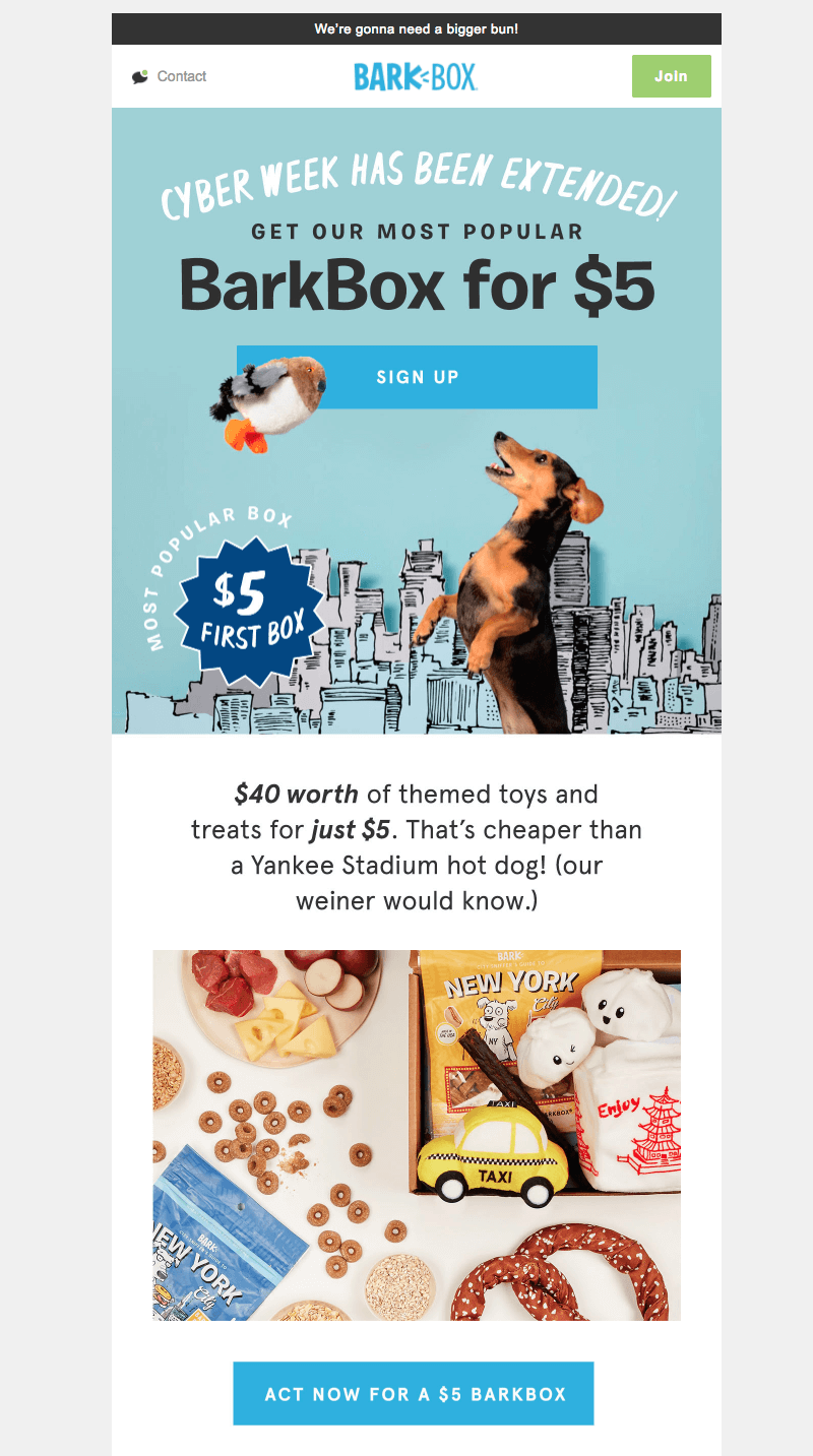 barkbox cyber week emails