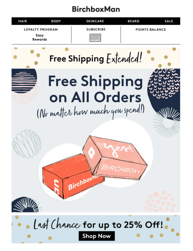 Birchbox Man cyber week emails