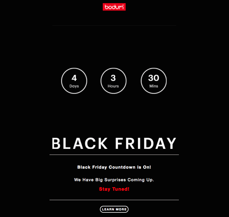 bodum black friday and cyber monday emails