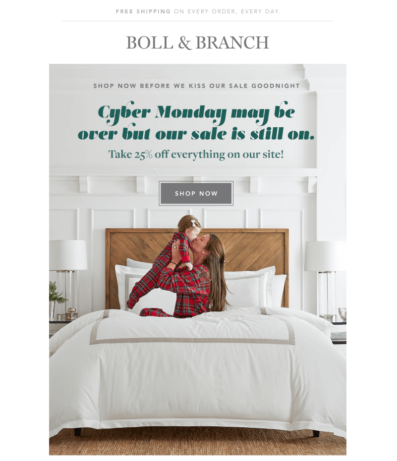 boll & branch cyber week emails