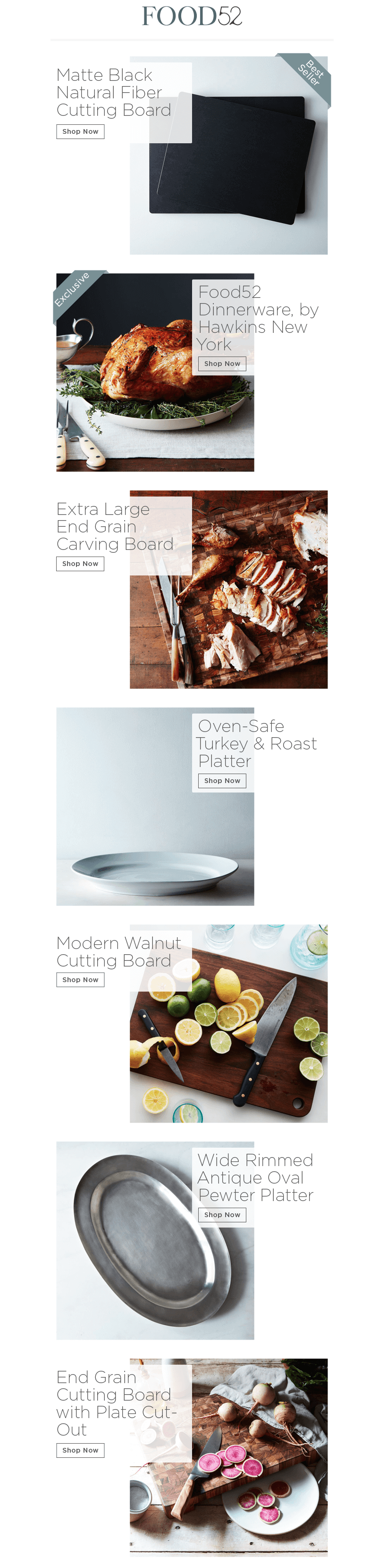 Food52 Thanksgiving email design