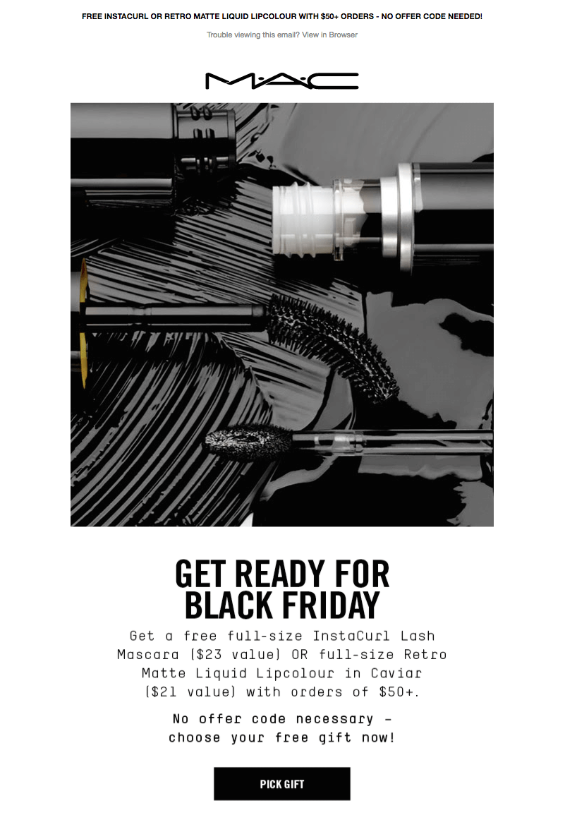 MAC black friday and cyber monday emails