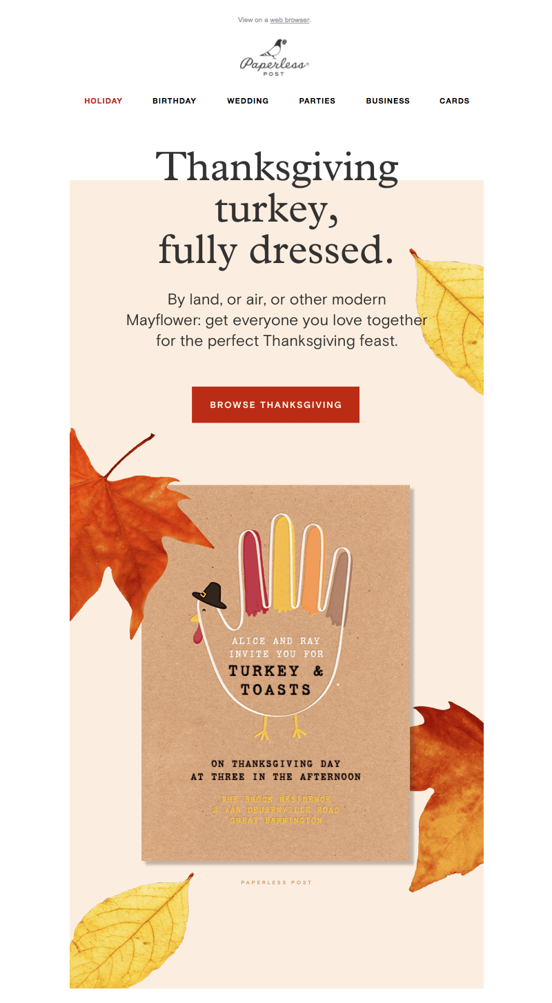 Paperless Post Thanksgiving email design