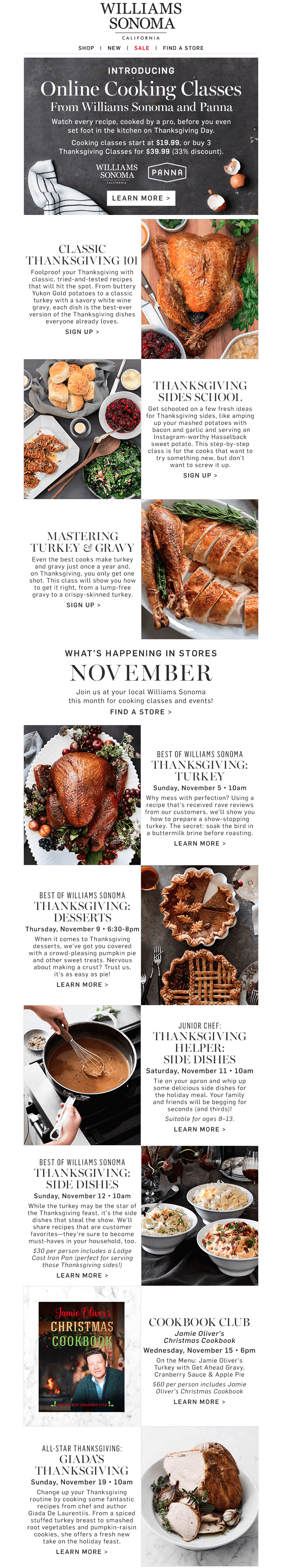 Williams Sonoma Thanksgiving email design