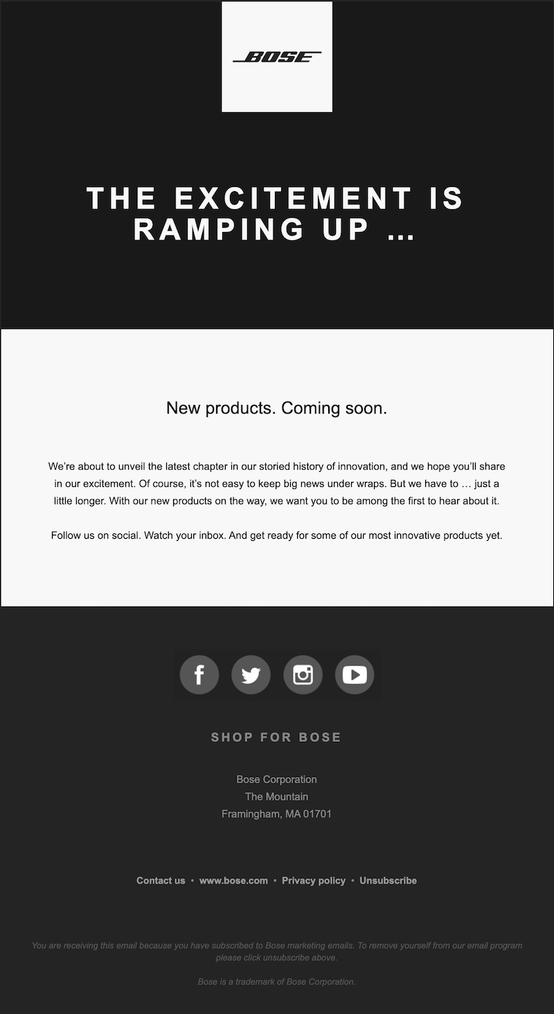 teaser email for product launch