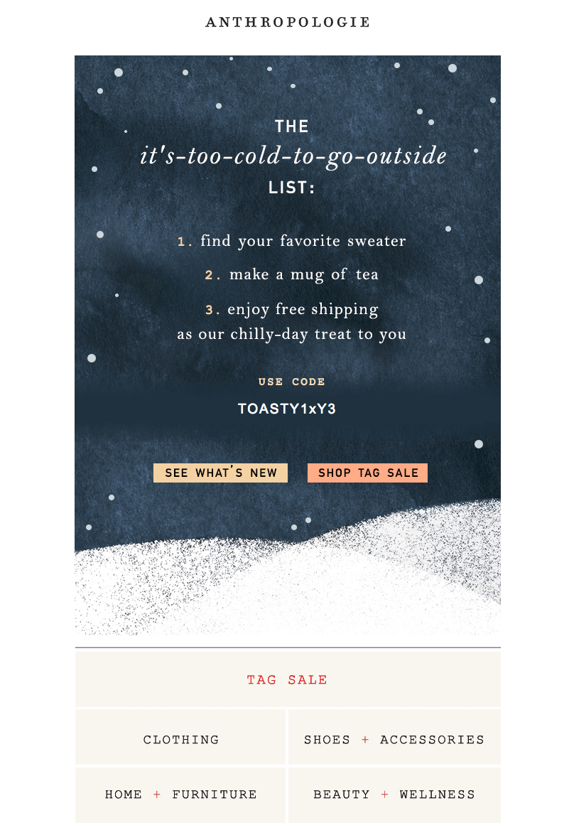 winter email campaigns