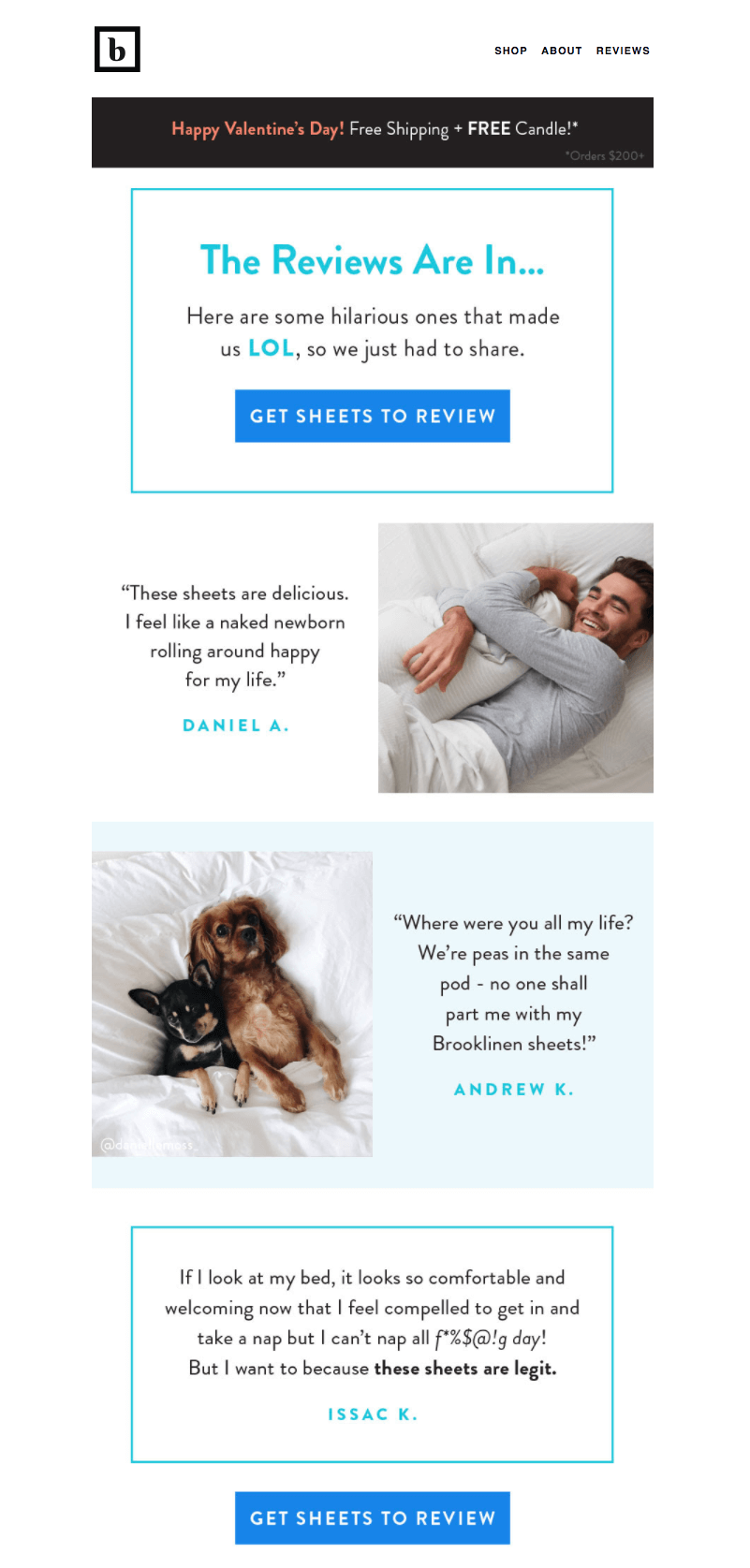 Brooklinen - user-generated content in email