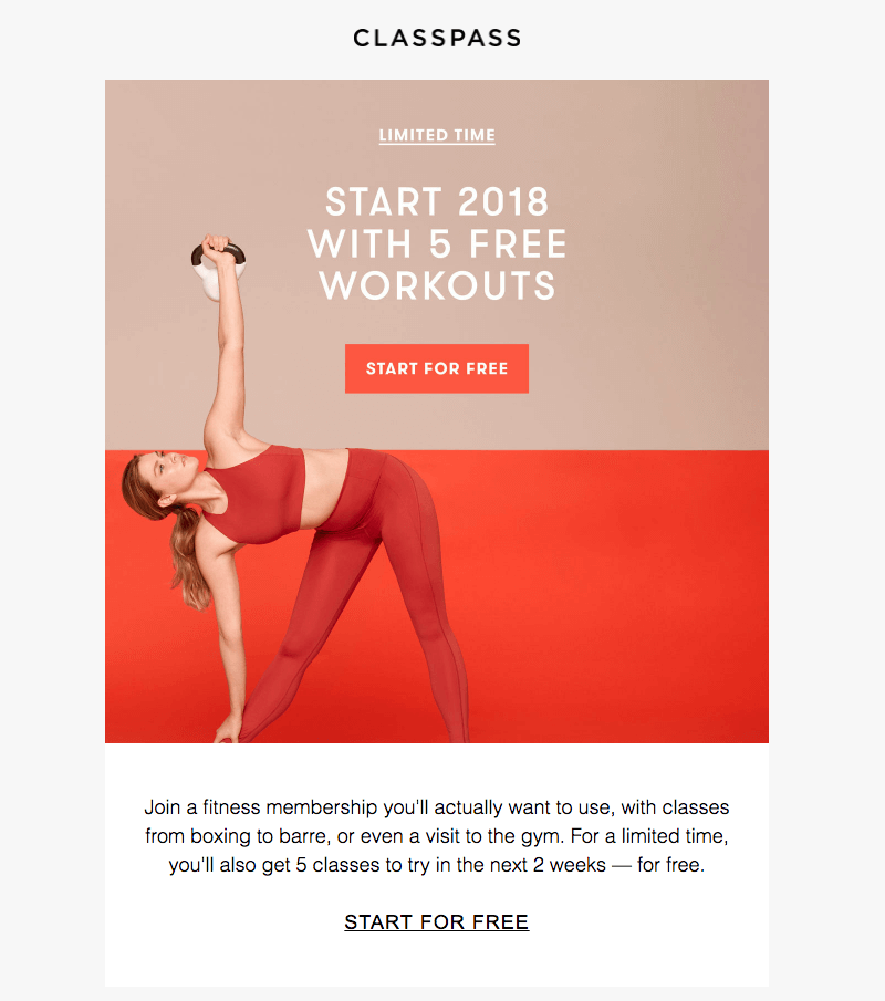 ClassPass - color in email