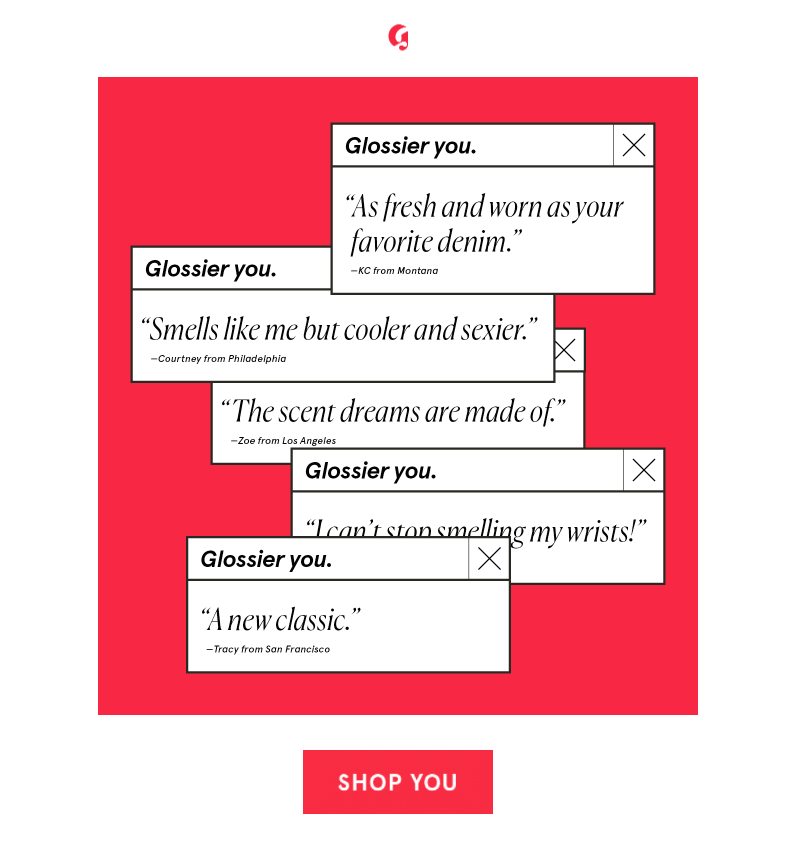 Glossier - user-generated content in email