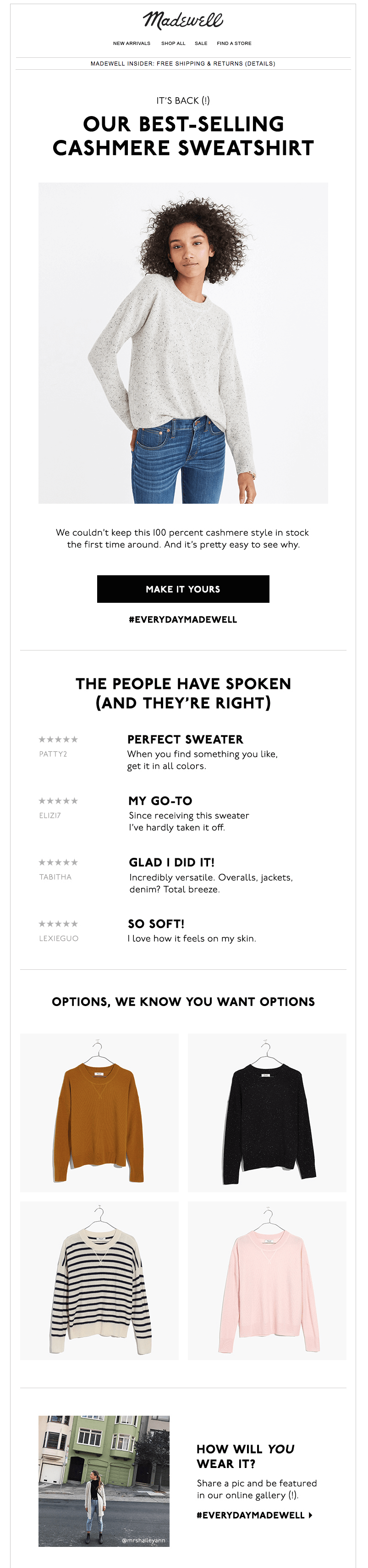 Madewell - user-generated content in email