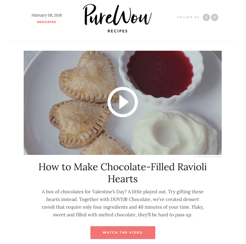 PureWow video content block