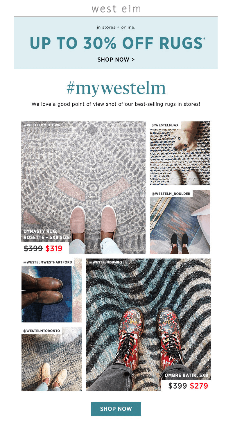 West Elm - user-generated content in email