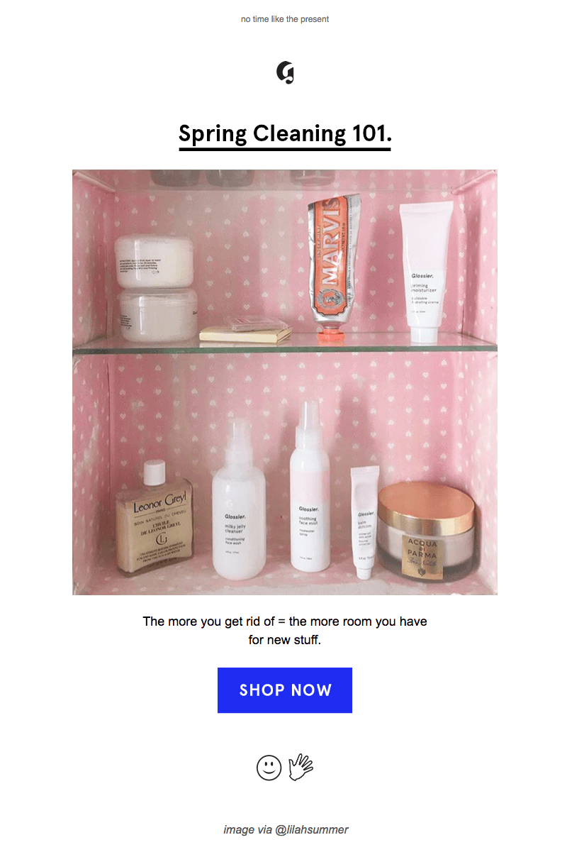 Glossier spring cleaning emails