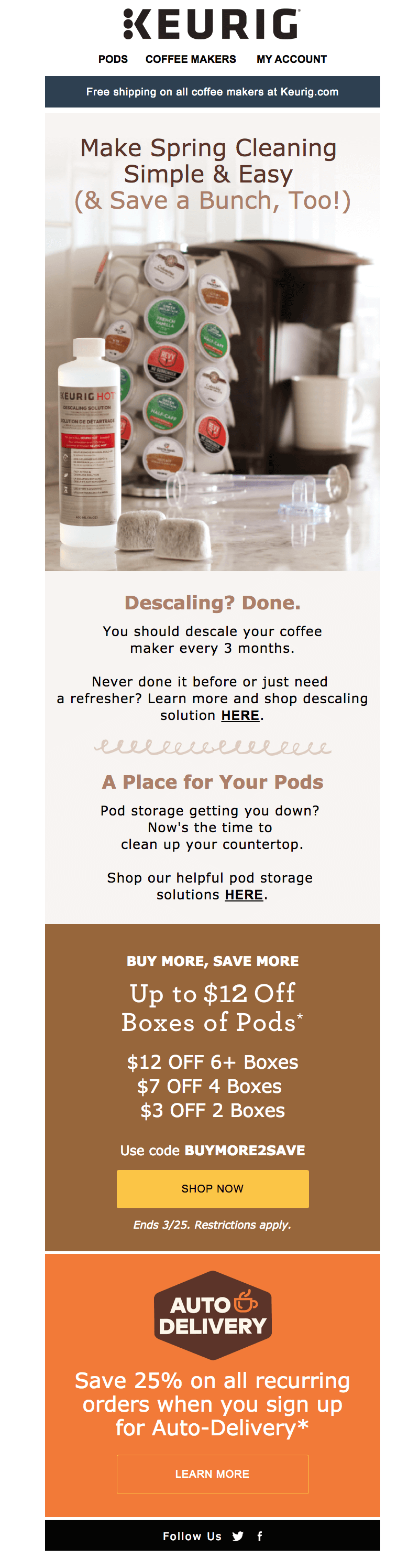 Keurig spring cleaning emails