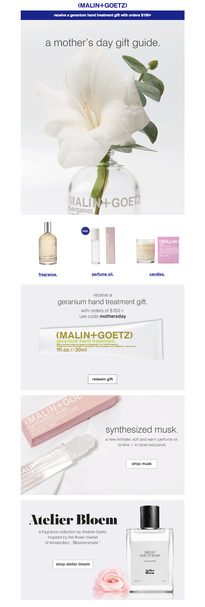 malin+goetz Mother's Day emails