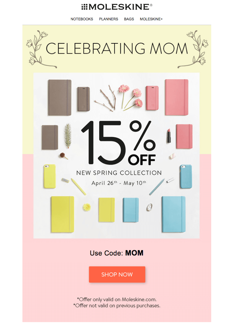 Moleskine Mother's Day emails